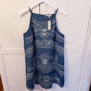 Anthropologie Flarest Teal Eyelet Lace Dress 8P